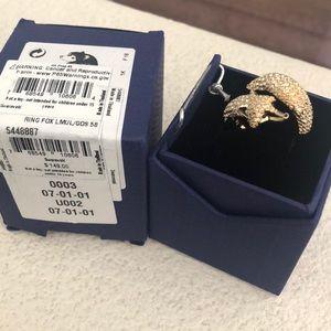 Swarovski ring fox gold plated 23K. Size 8